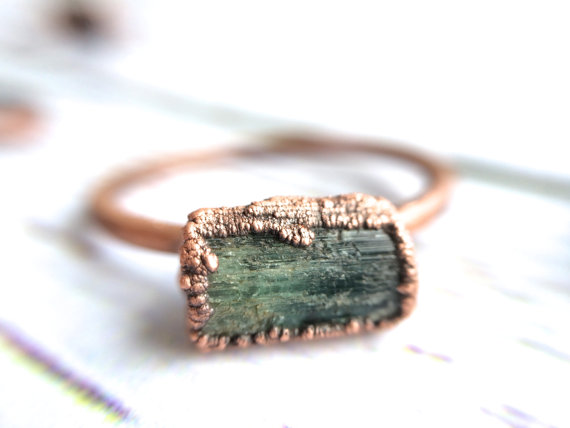 raw tourmaline stone ring