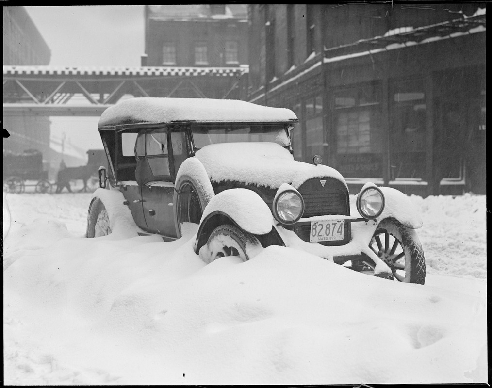 Snow bound car in Boston