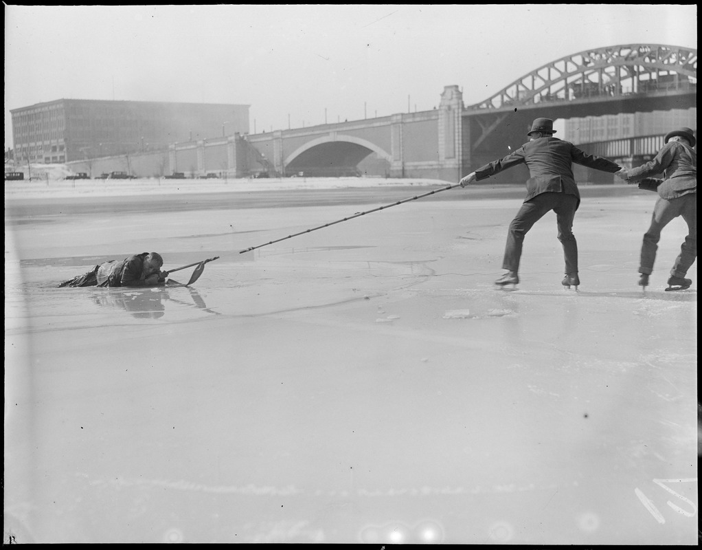 Rescue on the Charles River in wintertime